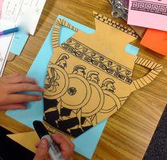 Ancient Greek Sculpture, Ancient Greek Art, Ancient Greece For Kids, Greek Crafts, Greece Art, Greek Mythology Art, Greek Pottery, Ecole Art, Art Lessons Elementary