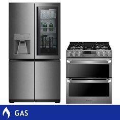 LG SIGNATURE 2-piece 30CuFt 4-door French Door Instaview Refrigerator GAS 7.3CuFt Dual-fuel Slide-in Kitchen Suite in Textured Steel - LUPXS3186N, LUTD4919SN