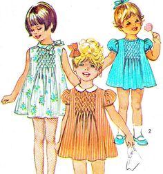 1960s Toddler Girls A Line Smocked Dress Vintage by paneenjerez, $7.00