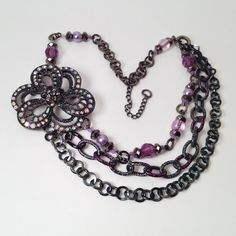 Orchid bib necklace // statement necklace // purple triple chain necklace // elegant jewelry on Etsy, $33.99