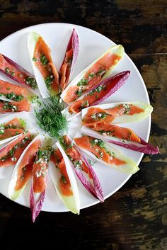 Endives & smoked salmon boats