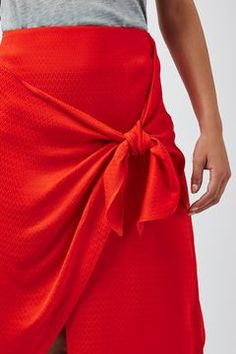 Jacquard Tie Front Skirt by Boutique