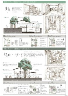 受賞作品 - 木の家設計グランプリ Architecture Presentation Board, Architecture Design, Co Housing, Color Collage, Presentation Skills, Concept Diagram, Type Setting, Layout, Landscape