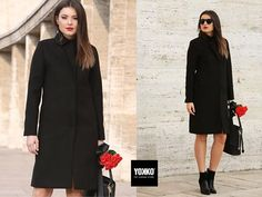 FAITH, jacheta lunii noiembrie 🍂  #coat #black #jacket #cold #outfit #women #style Smart Coat, Cold Day, Quilted Jacket, Wool Coat, Duster Coat, Cover Up, High Neck Dress, Coats, Clothes For Women