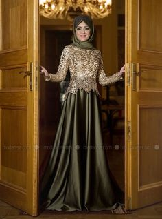 Hakim Yaka Haki Gold Payetli Abiye Elbise
