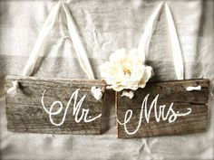 Mr. and Mrs. / Bride and Groom Wooden Wedding Chair Signs or Photo Props Set - Custom Made. $24.99, via Etsy.