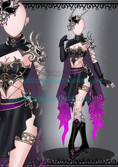 Outfit Adopt by GattoAdopts on DeviantArt Edgy Outfits, Anime Outfits, Girl Outfits, Villain Costumes, Hero Costumes, Drawing Anime Clothes, Dress Drawing, Role Play Outfits, Anime Girl Dress