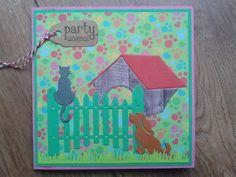 Vrolijke verjaardagskaart. Gemaakt met snijmallen van Animal Medley van Amy Design en achtergrondpapiertje uit Gelegenhedenblok van BoekenVoordeel