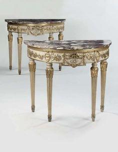 pair of German white-painted & parcel gilt console tables, c. 1900.