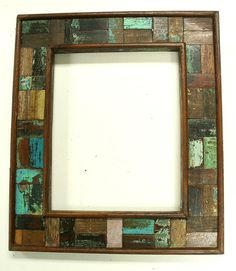 Reclaimed wood picture frame from antique old/salvaged wood
