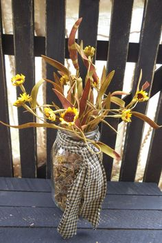 Sunflower   Mason Jar   Flower Arrangement Mason by RagsandBerries, $15.00