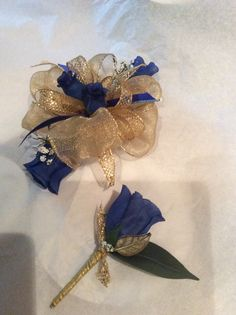 Royal blue and gold prom wrist corsage and Boutonnière by HYR Designs,
