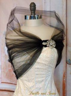Black Tulle Shrug Black Bolero Tulle Stole With Rhinestone Brooch Closure Black Tulle Shoulder Wrap Caplet Prom Shawl More Color Options