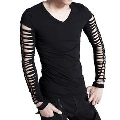 Long-sleeve top slashed sleeves and back by Punk Rave