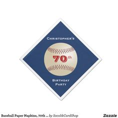 "Baseball Paper Napkins, 70th Birthday Party Paper Napkin -  A baseball on a dark blue background decorates this unique and fun party paper napkin. Although default says ""70th Birthday Celebration"", you can easily change the name, # of years, and event. Napkin is designed on in a diamond shape - like a baseball diamond. Baseball fans will love it! Matching paper plates available at my zazzle store, SocolikCardShop*. All Rights Reserved © 2015 Alan & Marcia Socolik."