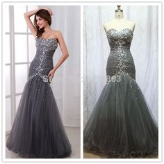 Real Picture Elegant Sweetheart Beaded Formal Long Mermaid Prom Dresses 2014 Tulle Pageant Gowns Fishtail Full Length $165.00