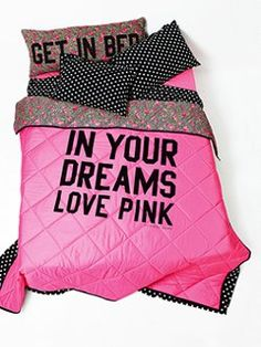 maybe for Nevaeh's room Quilty pleasure: the Reversible Comforter from Victoria's Secret PINK. PINK your pad with fun bedding and dorm accessories in super-cute prints and graphics.