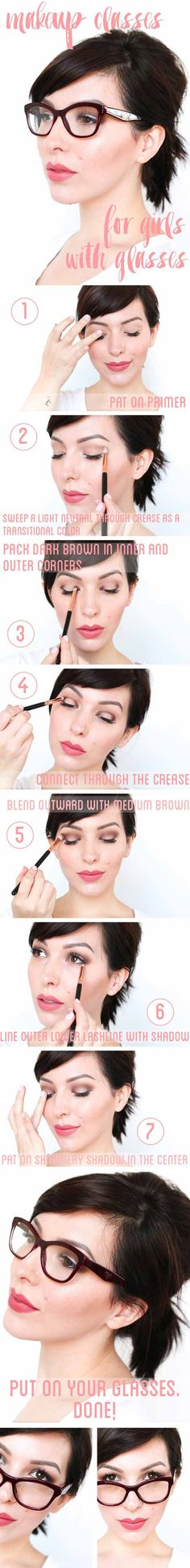 Makeup Tips For Glasses - Makeup Tutorial for Girls with Glasses - Simple Step by Step Tutorials for People with Eye Glasses - Easy Beauty Tips for Different Face Shapes, Make Up Ideas and Awesome Hairstyles for Different Types of Eyeglasses - Eyeliner, Foundation, and Nail Art Ideas that Go Great with Lots of Different Looks - thegoddess.com/makeup-tips-for-glasses