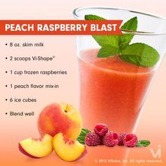 Peach Raspberry Blast Vi Shake #visalus #bodybyvi #recipes http://www.iweightloss.com/blog/category/visalus-shake-recipes/