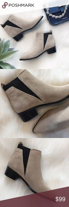 """NWOT Marc Fisher """"Ignite"""" Suede Chelsea Ankle Boot Elegant & chic, the Marc Fisher """"Ignite"""" suede Chelsea ankle boots in """"Natural"""" taupe & black will amp up any outfit. Pair them with a white button-down & denim for a classic look or a bell-sleeve romper for a boho Coachella festival vibe. They have a fine leather upper & man-made insole, lining, & sole. Other details include tonal stitching throughout, goring on the sides, & block heels. See photos 5 & 6 for minor imperfections. Heel…"""