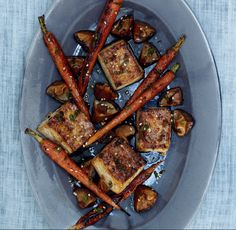 Broiled Tofu, Carrots,and Shiitake Mushrooms