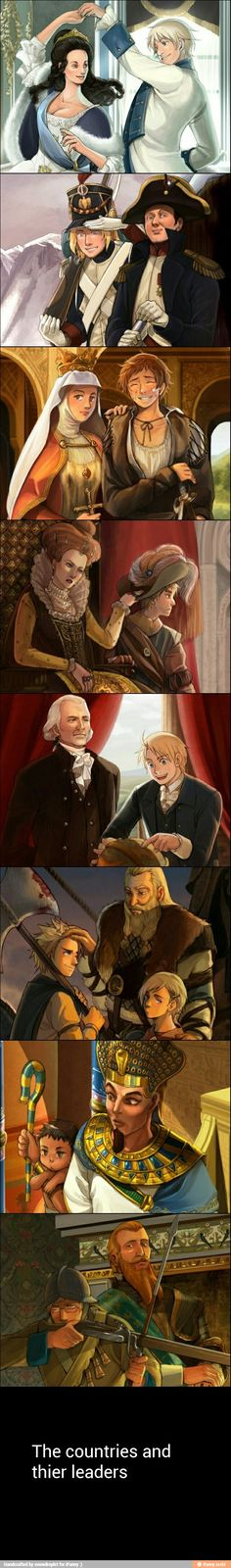 Hetalian characters interacting with historical figures from their nation