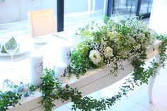トルコキキョウ/アジサイ/かすみ草/マトリカリア/花どうらく/ウェディング/Party /Wedding/decoration/http://www.hanadouraku.com/