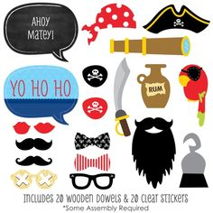 AmazonSmile: Ahoy Mates! Pirate - Photo Booth Props Kit - 20 Count: Toys & Games
