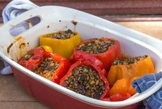 Freekeh Stuffed Red Peppers