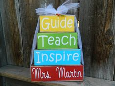 Teacher appreciation wood blocksGuide Teach by BuzzingBeesCrafts, $16.00