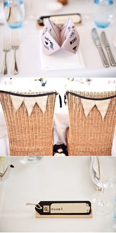 Cute table placement ideas, especially liking the Mr. & Mrs. chair banners // #decor #fun
