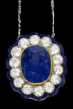 Art Nouveau sapphire and diamond pendant / brooch.