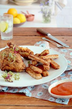 HEBA Crumbed chicken and chips Chicken And Chips, Fried Chips, Banting, Lchf, Rocky Road, Base Foods, Fried Chicken, Fries, Spicy