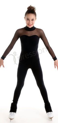 FIGURE SKATING CATSUIT MESH SLEEVES XPRESSION 1517 MADE ON ORDER 3 WEEKS