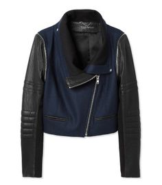 Navy Essentials: Yigal Azrouel Convertible Leather Jacket with Wool