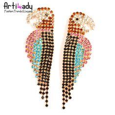 Artilady new parrot stud earring crystal earring jewelry 2013 on AliExpress.com. $5.56