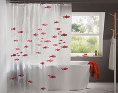 rideau de douche poissons rouges - Becquet