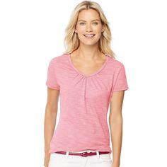 Hanes Women's Blend Short-Sleeve Shirred V-neck Tee