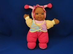 New product 'Goldberger Black Love Bug Doll BEE HAPPY Hot Pink Yellow Aqua' added to Dirty Butter Plush Animal Shoppe! - $16.00 - Goldberger Love Bug Soft Plush 12 inch African American Doll - Pastel Pink, Hot Pink Antenna - Soft Vinyl Painted Face -…