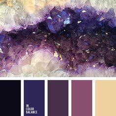 Color Palette (Color Palette Ideas) Violet Things violet color of amethyst Color Schemes Colour Palettes, Colour Pallette, Color Combos, Purple Color Schemes, Purple Palette, Black Color Palette, Coordination Des Couleurs, Lilac Color, Purple Yellow