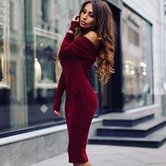 Women Autumn Slim Plain Off Shoulder Long Sleeve Dress Ladies Bodycon Mini #Dress#