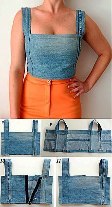 Kleidung & Accessoires - clothes refashion no sew Diy Clothes Refashion, Diy Clothing, Sewing Clothes, Clothing Accessories, Jeans Refashion, Refaçonner Jean, Jean Top, Ropa Upcycling, Umgestaltete Shirts