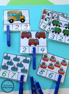 Number Worksheets Number Worksheets This Kindergarten Math Unit 1 Set Includes 25 Number Worksheets And 15 Math Centers Simplify Your Lesson Planning With These Fun Hands On Activities Transportation Counting Activity For Preschool Or Kindergarten Transportation Preschool Activities, Transportation Activities, Numeracy Activities, Kindergarten Math Activities, Counting Activities, Preschool Crafts, Counting Puzzles, Preschool Learning, Maths Eyfs
