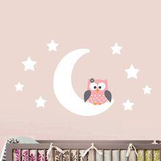 Moon/ Stars/ Owl Wall Decal 60 x 105 cm