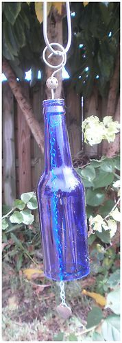 UPCYCLED BEER BOTTLE WIND CHIME ooak recycled yard art FREE SHIPPING blue