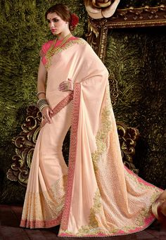 #Beautiful #Peach #Jacquard #Velvet And #Chiffon #Saree With #Blouse Peach Jacquard Velvet And Chiffon Saree designed with Zari,Resham Embroidery with Cord And Hand Work. As shown Pink Raw Silk Blouse fabric is available which can be customized as per requirements.  #With #Exciting #Offer INR:-6,467.00 Only Shop Now At http://tinyurl.com/mn8lh5v