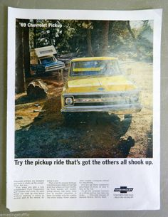 1969 Chevrolet Pickup Truck Chevy Full Page Advertisement Yellow Blue Vintage Mancave Garage Automotive Automobile Classic Print Poster Picture