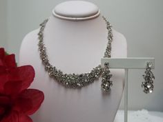 $15.99 Beautiful Jewelry Prom Bridal Party Pageant Ballroom Crystal Necklace & Dangle Earrings
