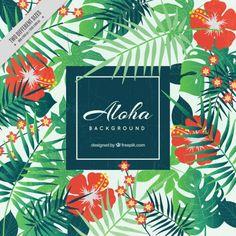 アロハ、背景、花のスタイル 無料ベクター