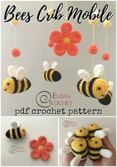 Patterns Fun and adorable bee crib mobile crochet pattern! Make your own mobile! What a fun idea!Fun and adorable bee crib mobile crochet pattern! Make your own mobile! What a fun idea! Crochet Mignon, Crochet Bee, Crochet Simple, Crochet Baby Cocoon, Crochet Baby Toys, Cute Crochet, Crochet Animals, Crochet Birds, Crochet Flowers